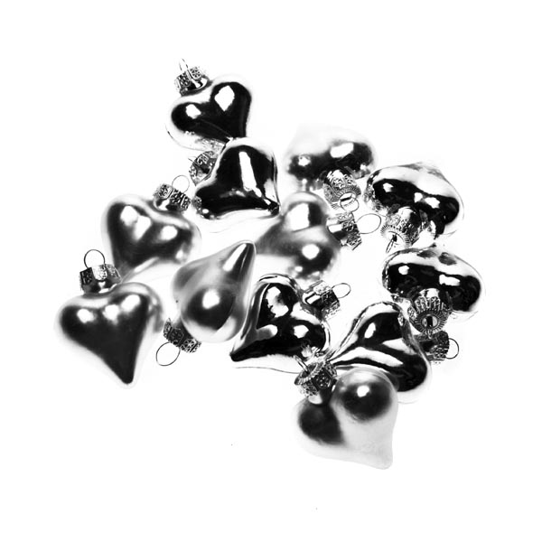 Silver Glass Hearts - 12 x 40mm