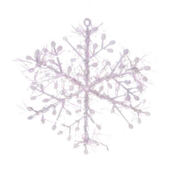 White/Iris Hanging Snowflakes - 6 x 8.5cm