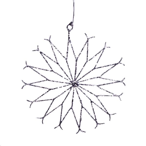 Silver Spiral Wire Snowflake Decoration - 15cm