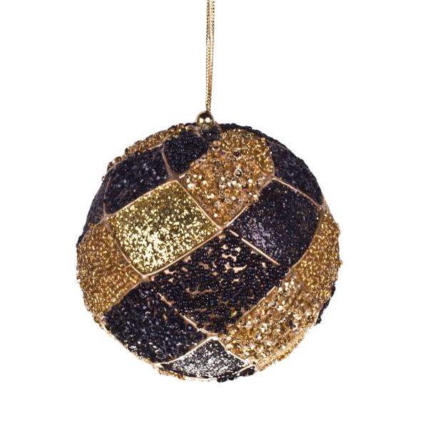 Black & Gold Decorative Harlequin Beaded Ball - 10cm