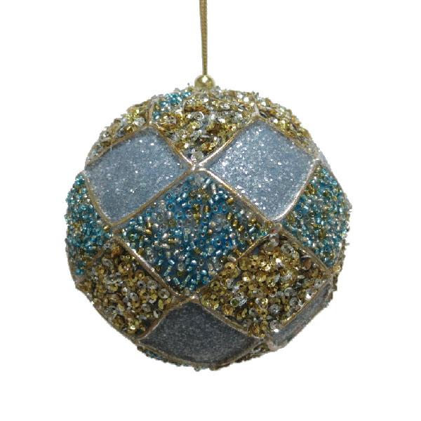 Dark Blue, Turquoise & Dark Turquoise Decorative Harlequin Beaded Ball - 10cm