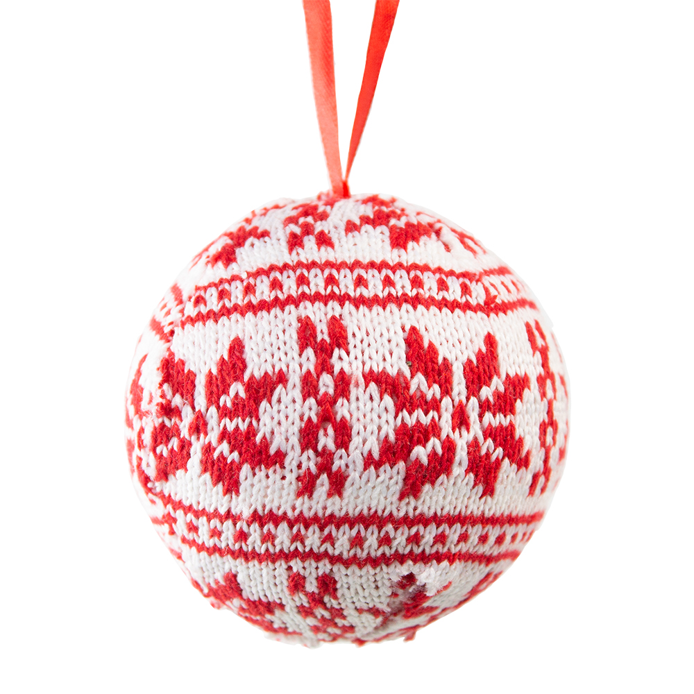 Knitted Bauble With Red Snowflake Design - 80mm