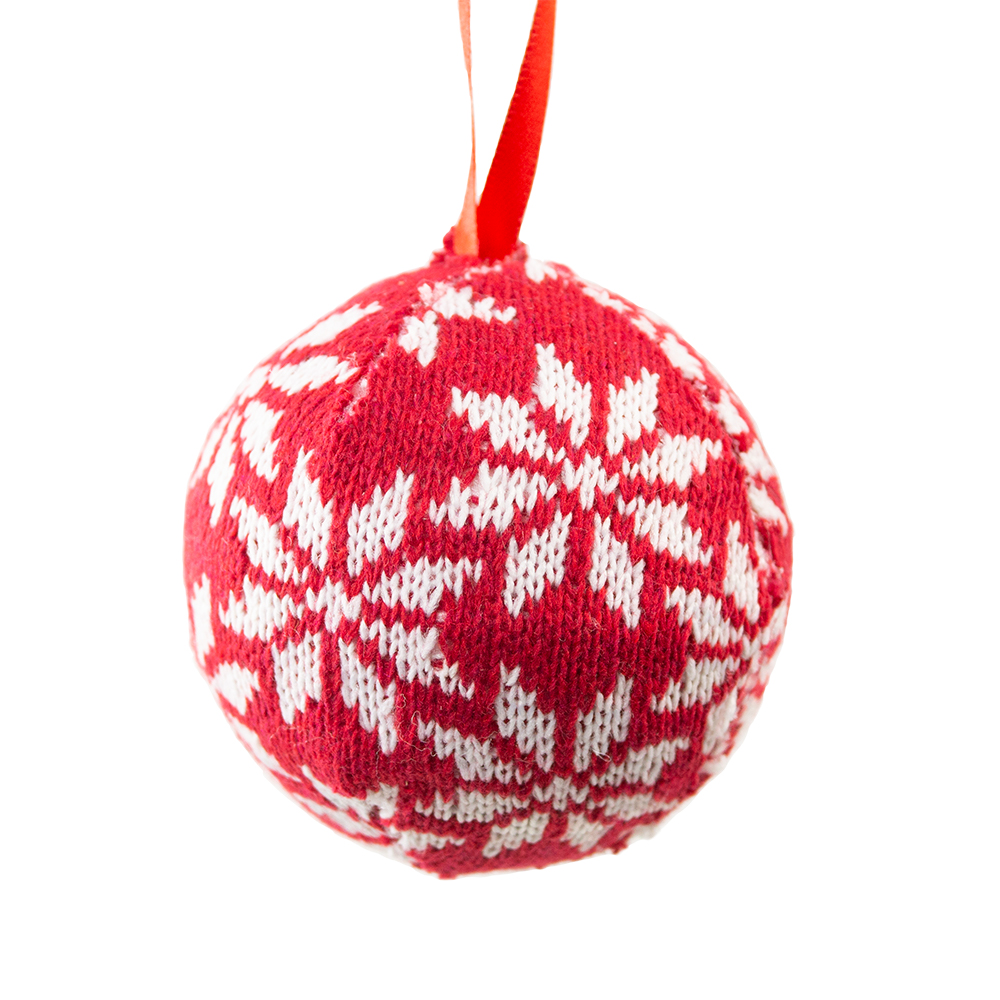 Knitted Bauble With White Snowflake Design - 80mm