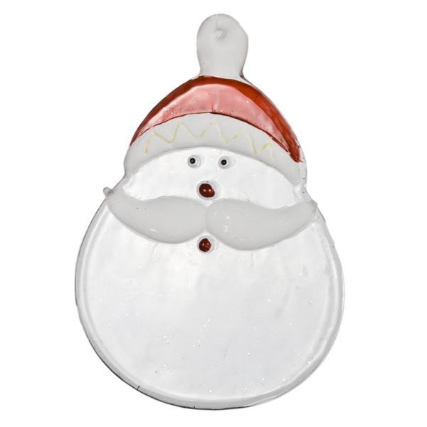 Clear Glass Santa Face Hanging Decoration - 11cm