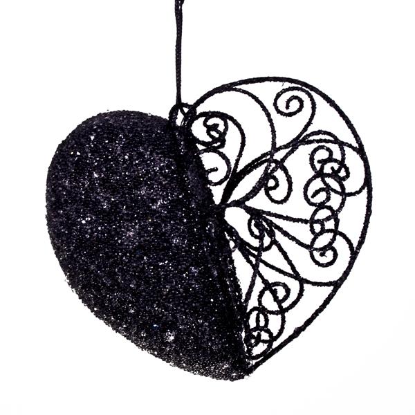 Black Filligree And Bead Heart Decoration - 11cm