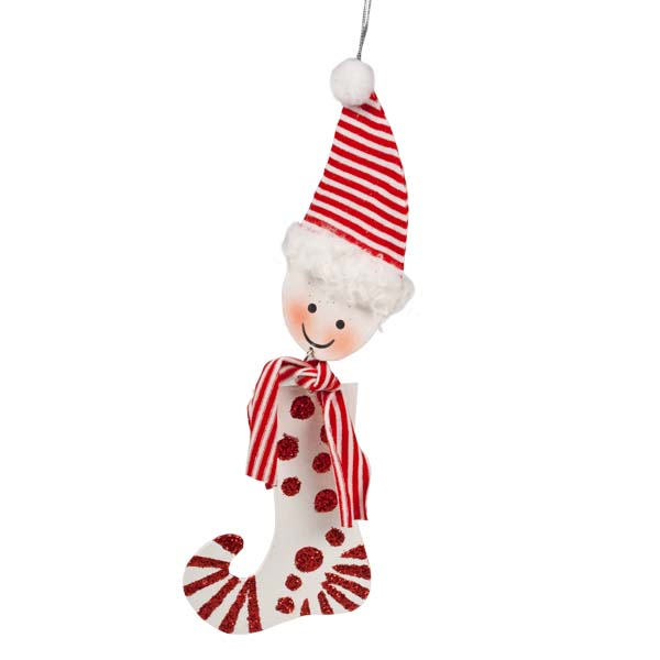 Red & White Snowman Stocking Decoration - 9.5cm X 27cm