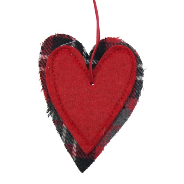Red Heart Hanging Decoration - 10cm x 10cm