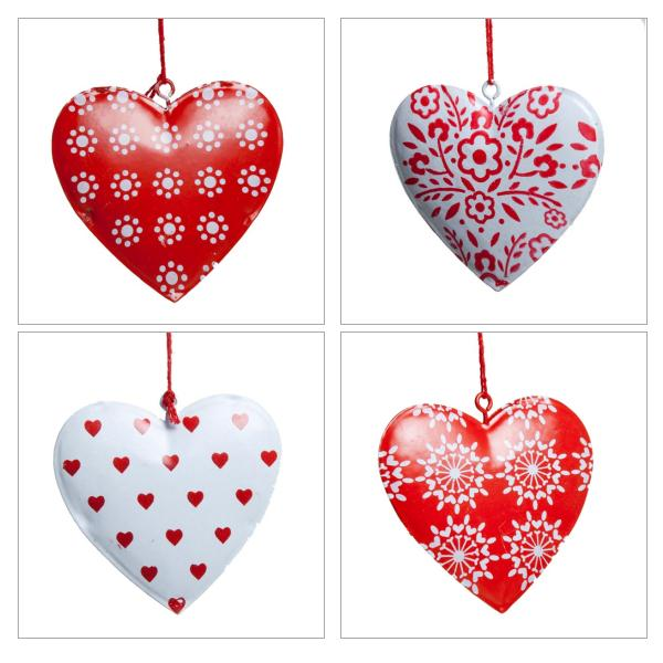 Gisela Graham Red & White Heart - 6cm
