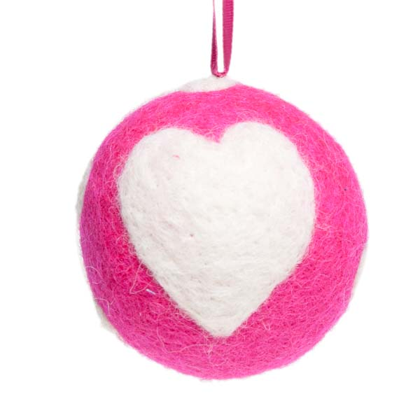 Fairtrade Hand Made Pink & White Wool Hearts Design Hanging Decoration - 60mm Diameter