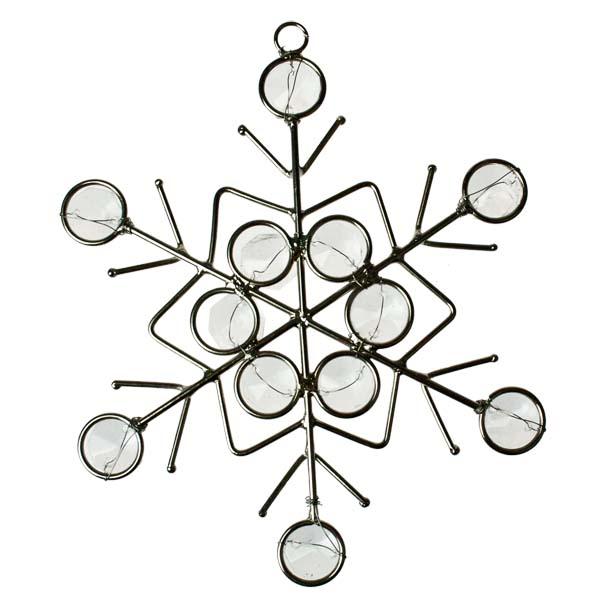 Silver & Gemstone Snowflake Decoration - 13cm