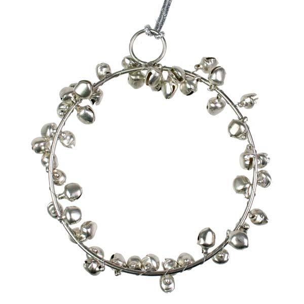 Silver Jingle Bell Decoration - 8cm