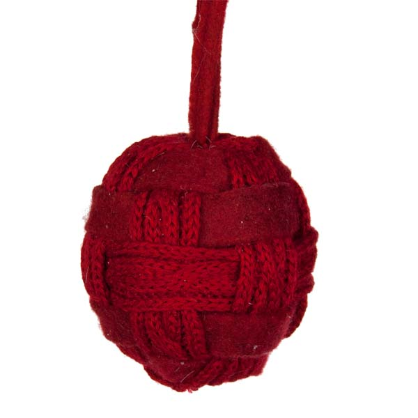 Red Felt & Wool Knit Ball Decoration - 10cm