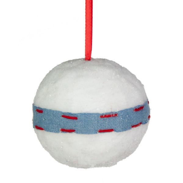 White Snowball Bauble Decoration - 8cm