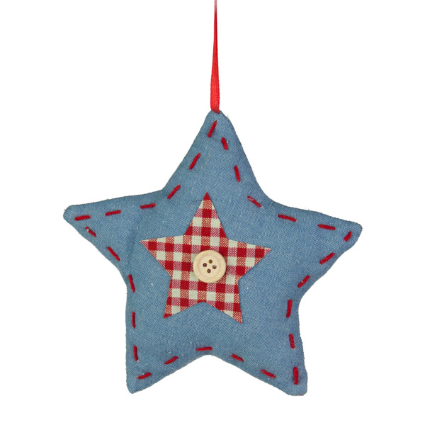 Denim & Gingham Hanging Star - 14cm