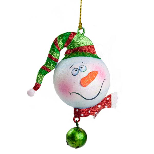 Character Snowman with Red & White Polka Dot Scarf Glittered Bauble - 6cm