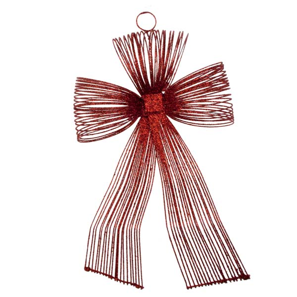Red Glitter Loop Bow Decoration - 20cm