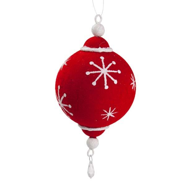 Snowflake Velvet & Glitter Finial Bauble Hanging Decoration - 8cm