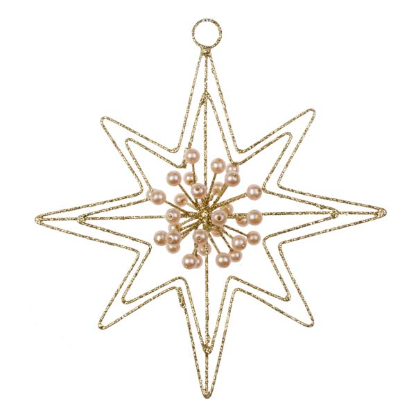 Gold Glitter & Bead 8 Point Star Hanger - 140mm