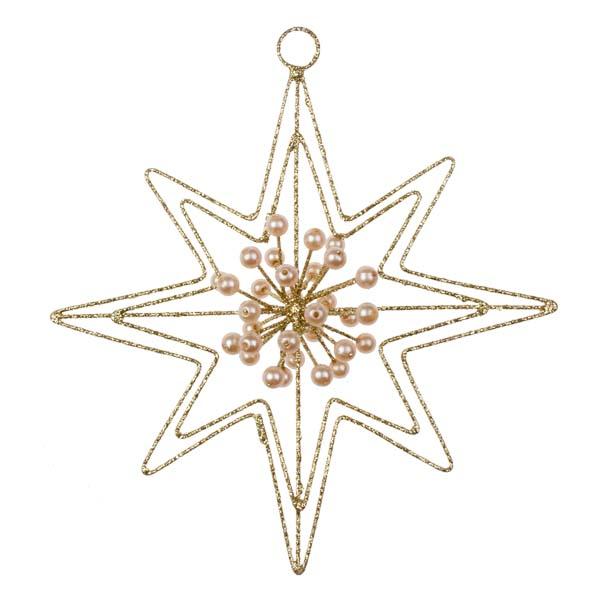 Gold Glitter & Bead 8 Point Star Hanger - 140mm