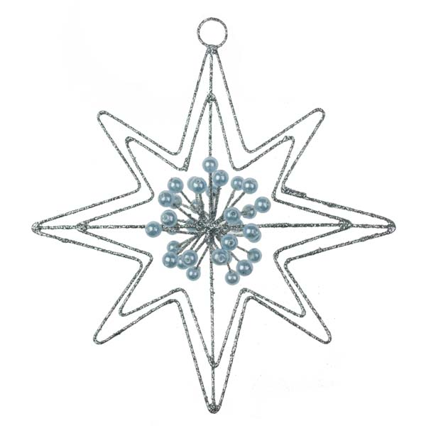 Silver Glitter & Bead 8 Point Star Hanger - 140mm