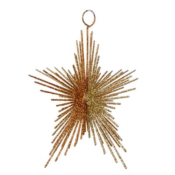 Gold & Copper Glitter Spiky Star Decoration - 100mm