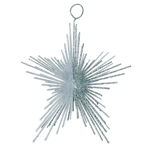 Silver & White Glitter Spiky Star Decoration - 100mm
