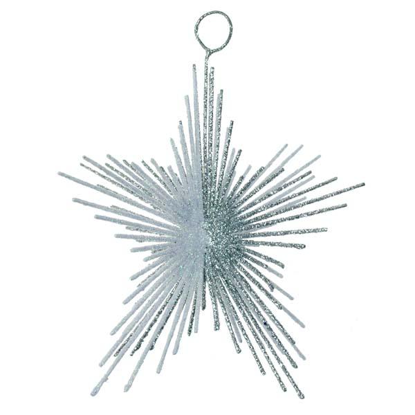 Silver & White Glitter Spiky Star Decoration - 100mm