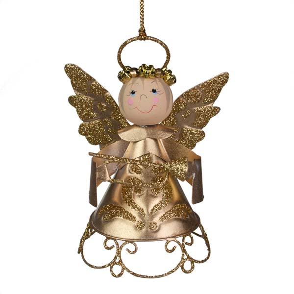 Gold Metal Angel With Crown And Trumpet - 9cm