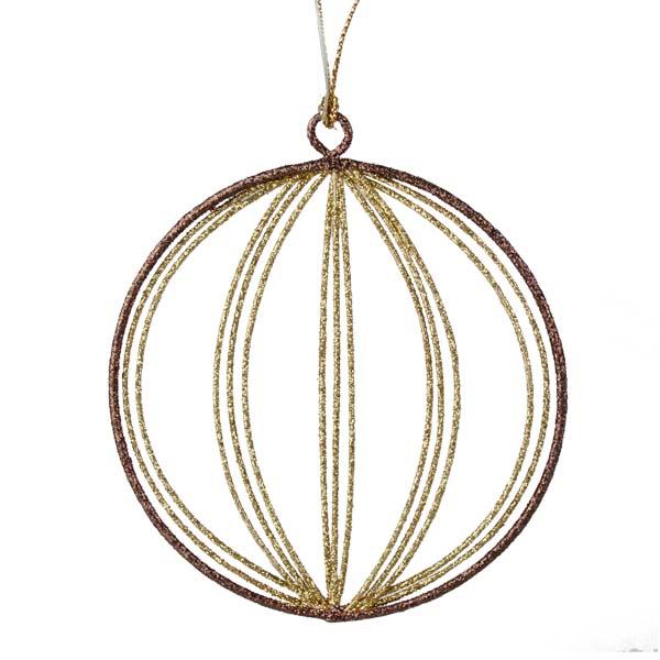 Gold & Brown Round Glittered Wire Decoration - 9cm