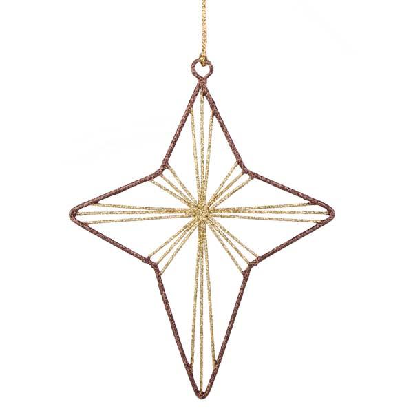 Gold & Brown Star Glittered Wire Decoration - 14cm
