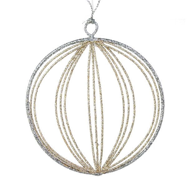 Silver & Champagne Gold Round Glittered Wire Decoration - 9cm