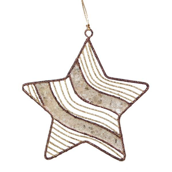 Gold & Brown Capiz Shell Star Hanging Decoration - 11cm