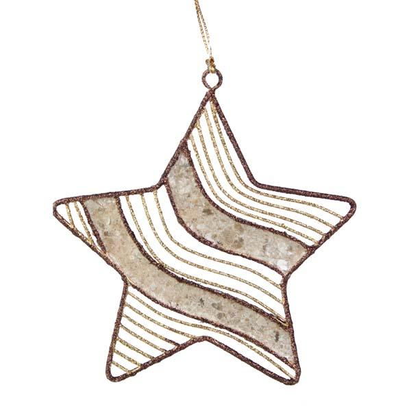 Gold & Brown Capiz Shell Star Hanging Decoration - 11cm