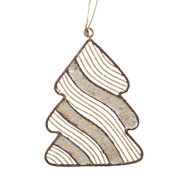 Gold & Brown Capiz Shell Tree Hanging Decoration - 12cm