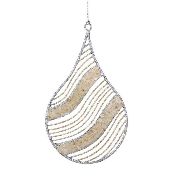 Silver & Champagne Gold Capiz Shell Teardrop Hanging Decoration - 14cm