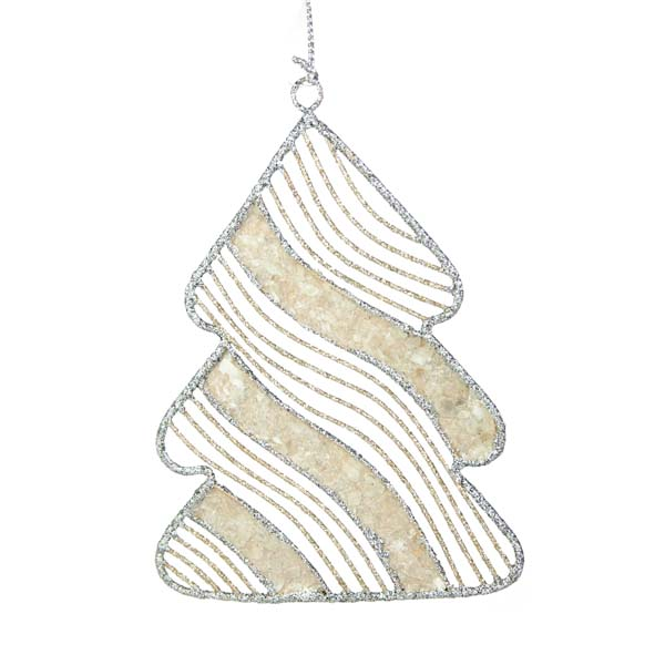 Silver & Champagne Gold Capiz Shell Tree Hanging Decoration - 12cm