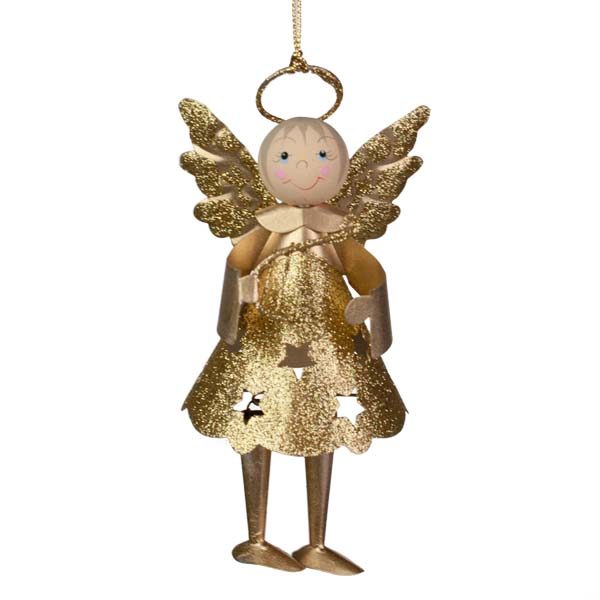 Glittered Gold Metal Angel With Dangly Legs And Harp - 13cm