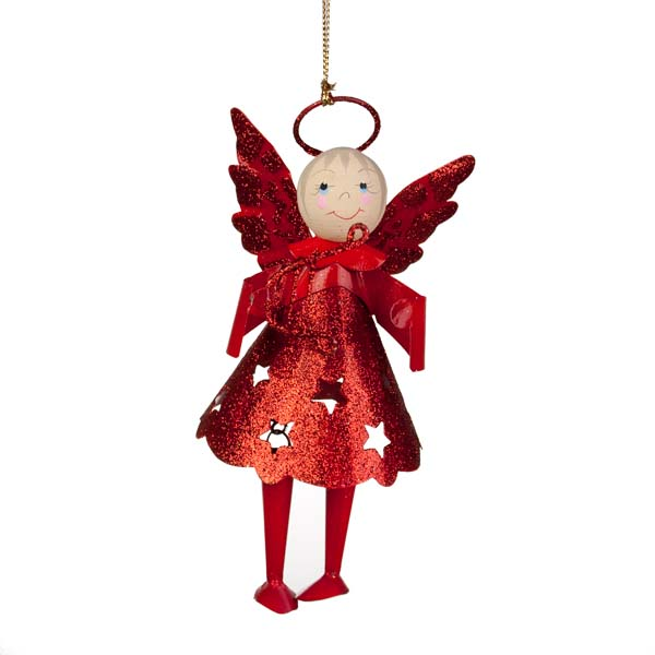 Glittered Red Metal Angel With Dangly Legs And Harp - 13cm