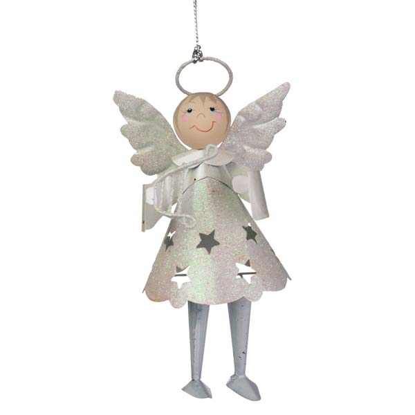 Glittered White Metal Angel with Dangly Legs and Harp - 13cm