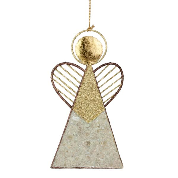Brown & Gold Angel With Heart Wings & Capiz Shell Hanging Decoration - 12cm