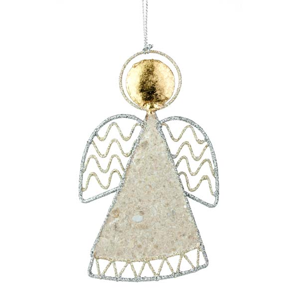 Silver & Champagne Gold Angel With Traditional Wings & Capiz Shell Hanging Decoration - 12cm
