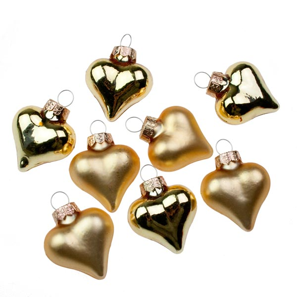 Gold Glass Hearts - 8 x 40mm