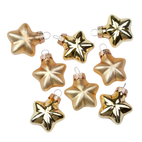 Gold Glass Stars - 8 x 40mm