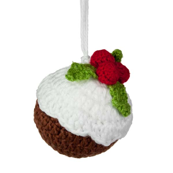 Gisela Graham Knitted Fabric Christmas Pudding Decoration - 9cm