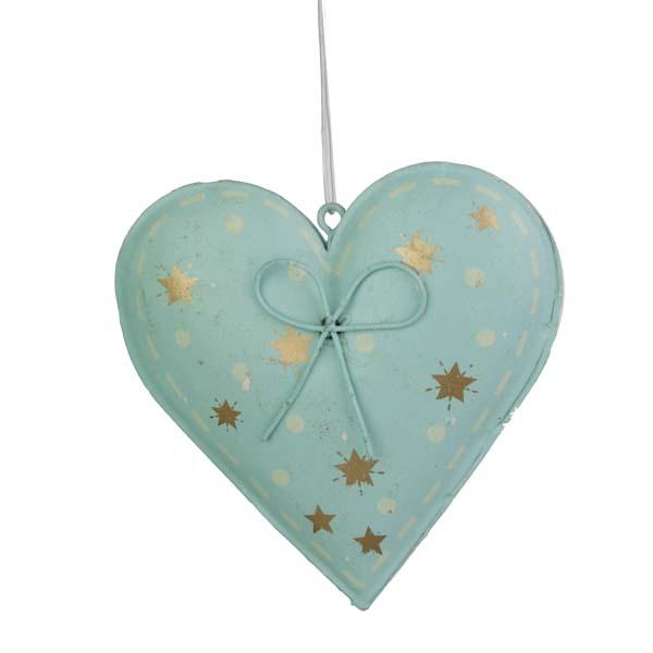 Gisela Graham Blue Tin Heart With Gold Stars - 8cm
