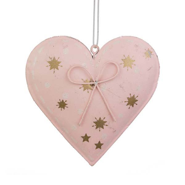Gisela Graham Pink Tin Heart With Gold Stars - 8cm