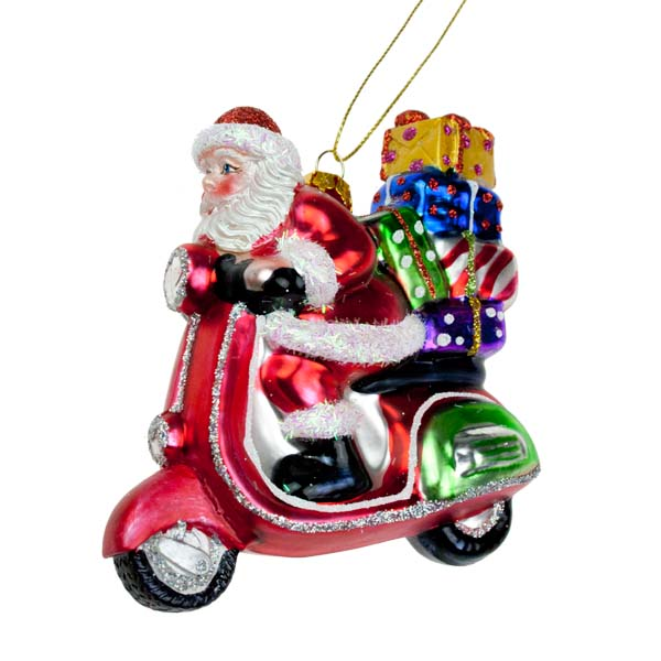 Gisela Graham Glass Santa On Scooter - 11cm