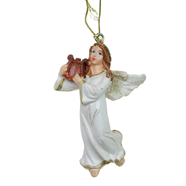 Angel With Harp Hanging Decoration