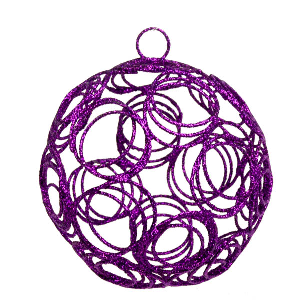 Purple Glittered Filligree Decoration - 75mm
