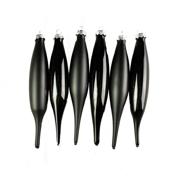 Black Glass Icicle Hangers - 6 x 15cm